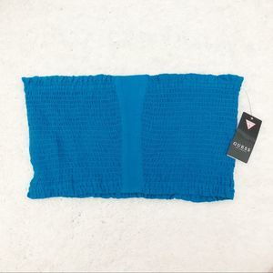 Guess Chica Smocked Tube Top Blue Size XL